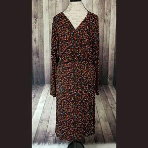 Ava & Viv abstract dot faux wrap long sleeve dress
